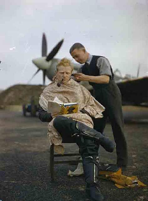 35 RAF Pilot gets a haircut