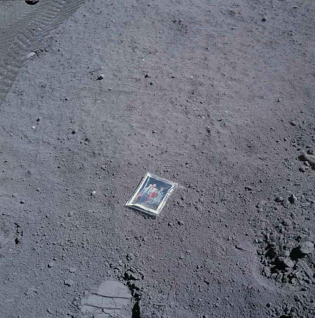 66 Picture of Astronauts family left on the moon.