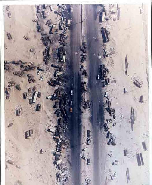77 Iraqi vehicles - Path of destruction during the Gulf War.