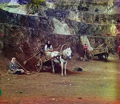 and-a-family-with-shovels-and-horse-drawn-carts-works-at-the-iron-mines-in-the-bakaly-hills