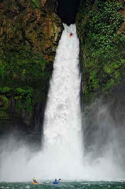 Red Bull Athlete Rafa Ortiz Runs the 128.6 foot tall Big Banana Waterfall in Vercruz Mexico.