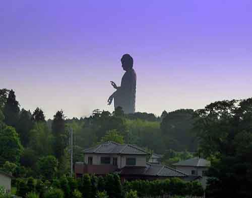 The tallest statue in the world, Ushiku Daibutsu.