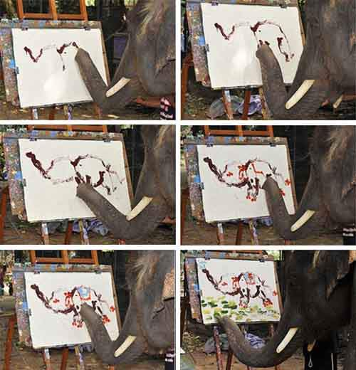 Elephant painting an Elephant