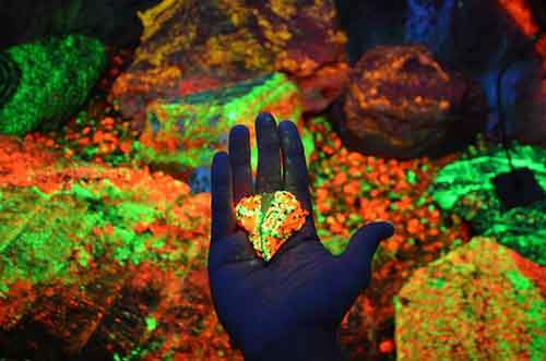 Glowing minerals in a cave in China