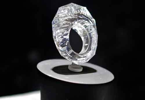 A ring carved from a single diamond. It weights 150 carats and is valued at $70 million.