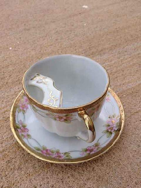 Antique tea cup for men that keeps your moustache clean and dry