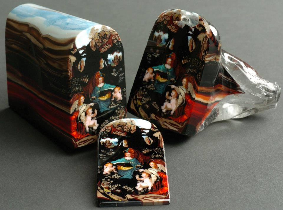 This is a glass murrine made by artist Loren Stump. Each color in the piece was carefully layered to create this loaf which was then sliced. Each slice sold for $5000.