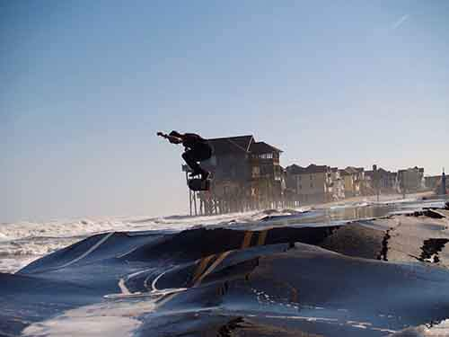 A skater after Hurricane Sandy on the Outer Banks in North Carolina.