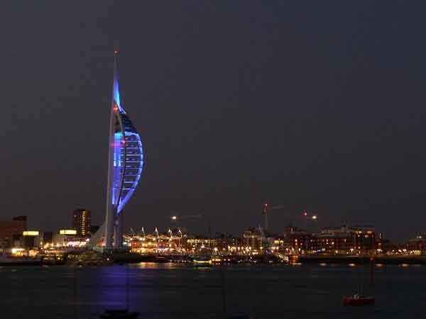 Spinnaker-Tower-at-night