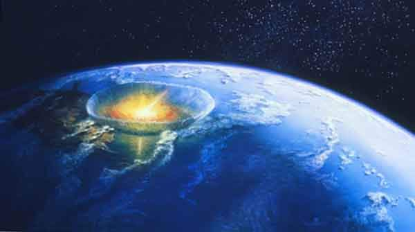 Artist's impression of an asteroid colliding with Earth