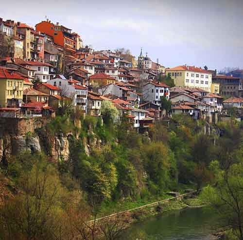 Typical Balkanic houses on a hill in Veliko Tunovo, Bulgaria