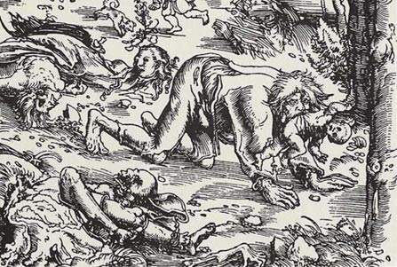 Woodcut-of-a-werewolf-attack