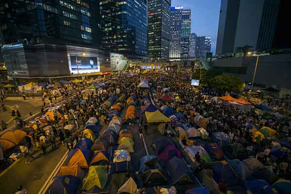 the-hong-kong-protests-remained-at-a-massive-scale-protesters-and-tents-occupied-the-main-road-to-the-financial-central-district-to-mark-the-one-month-anniversary