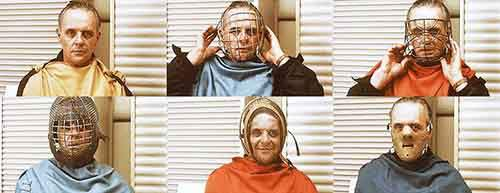 Anthony Hopkins testing different masks for Hannibal Lecter in The Silence of the Lambs.