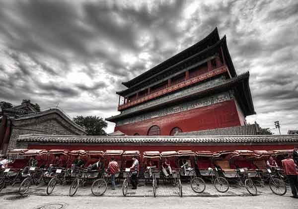 Trey Ratcliff - China 2011 - Drum Tower and Bikes in Front-X2