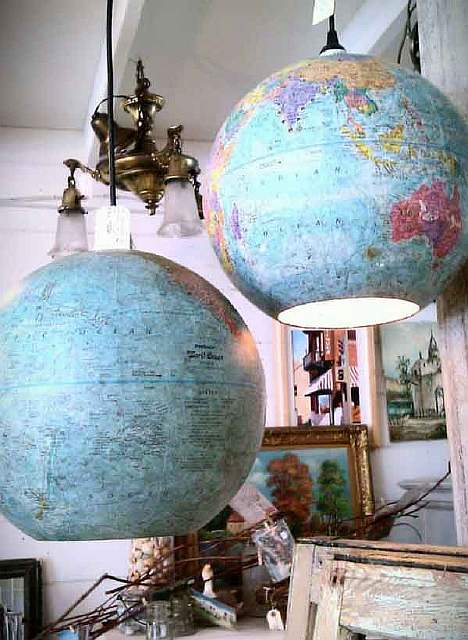 Globes-turned-into-lamp-shades