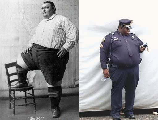 On the left - largest man in the world in 1903. On the right - american police officer in 2012