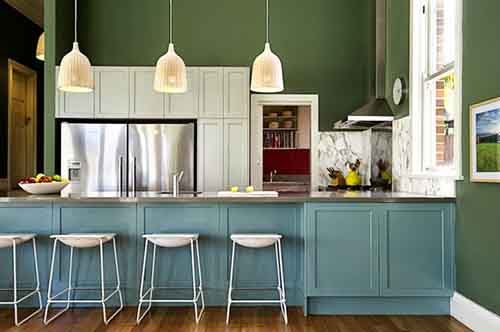 cool-design-ideas-of-perfect-kitchen-colors-using-white-hanging-pendants-white-barstools-blue-wooden-cabinets-silver-single-hole-faucets-rectangular-silver-728x484