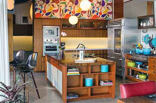 gorgeous-modern-kitchen-design-trends-2014-with-colorful-wallpapers-ideas-for-small-spaces-as-well-as-good-wooden-cabinets-also-black-bar-stool-and-stunning-floor-plans