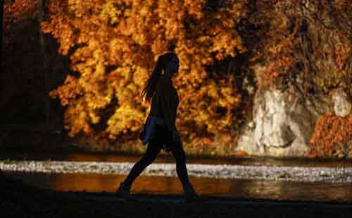 A woman walks along the Isar river past autumnal coloured trees during a sunny day in Bad Toelz, southern Germany, November 2, 2015. REUTERS/Michael Dalder - RTX1UFK9
