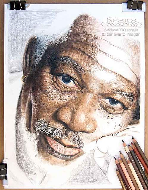 My-50-hours-High-Detail-Drawing-of-Morgan-Freeman-in-Color-Pencils4__880