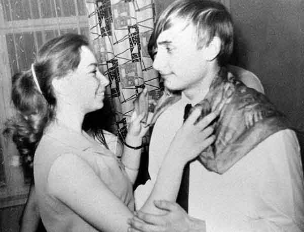 Vladimir Putin dances with his classmate, Elena, during a party in St. Petersburg, then called Leningrad, in 1970