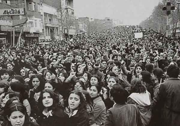 Women protest agains the forced wearing of the hijab in Iran after the Islamic Revolution, 1979
