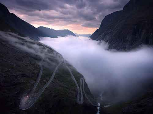The mountain road, Trollstigen, in western Norway