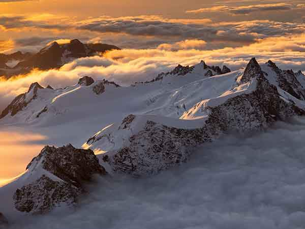Aerials of Southern Alps, Fox Glacier, Mt. Cook and Mt. Tasman