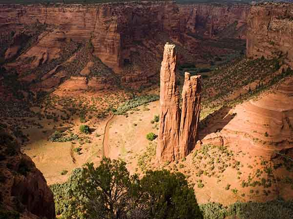 Spider Rock stands out from the surroundings at Canyon de Chelly National Monument in eastern Arizon