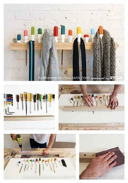 A few old tools and a wooden plank are all you need to make an extra coat hanger