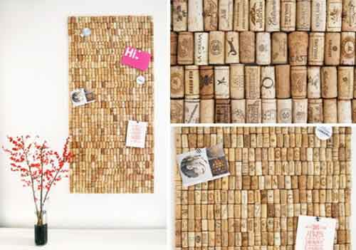 A wall made from old corks is an inventive way to display small notes and photos