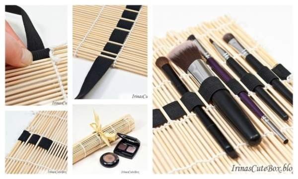 Use a bamboo napkin to keep cosmetic brushes in one place