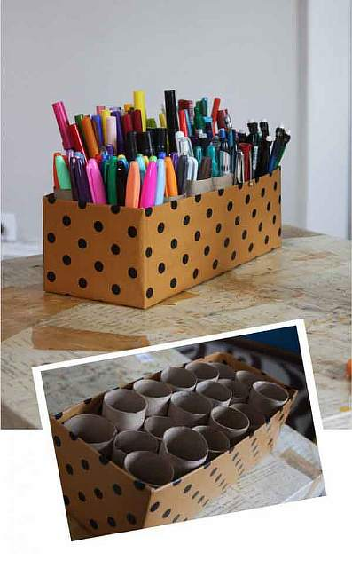 Use cardboard tubes for all your pens, markers, and pencils