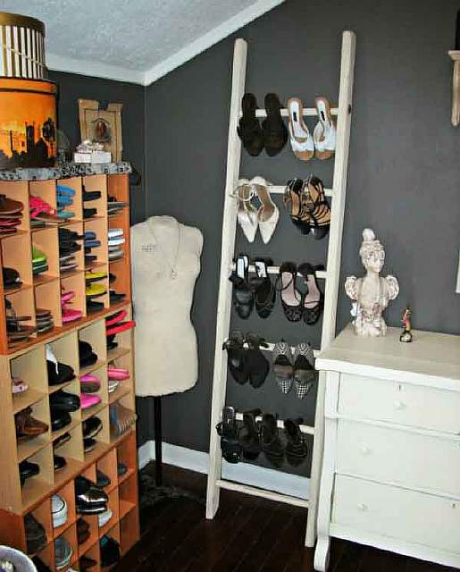 Using an old ladder is a great way to store your high-heeled shoes