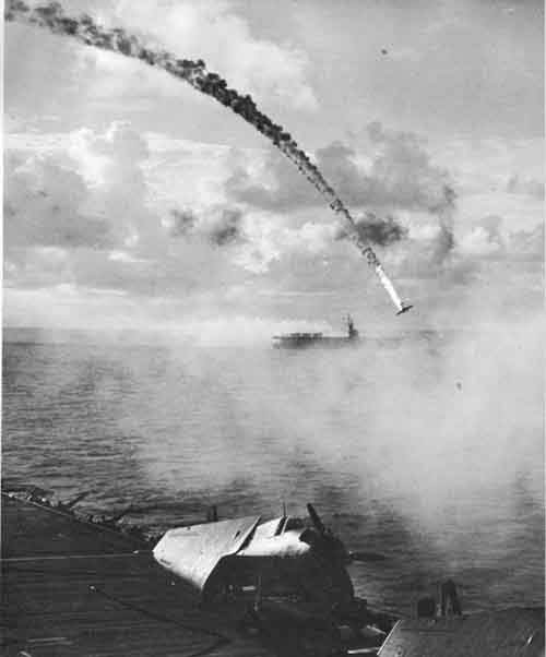 A Japanese plane is shot down during the Battle of Saipan in 1944