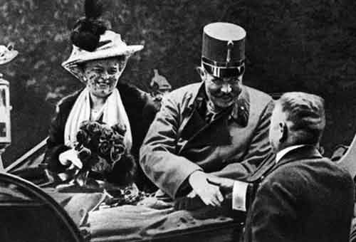 Archduke Franz Ferdinand with his wife on the day they were assassinated in 1914, an event that helped spark World War I