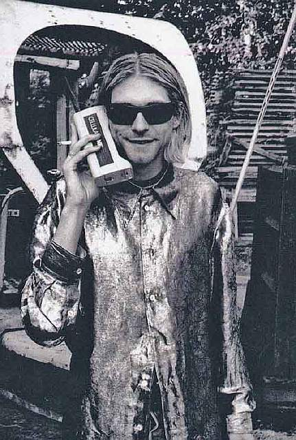 Kurt Cobain talking on his cellphone in the 1980s