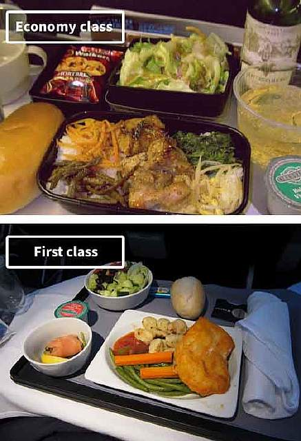 United-airline-food-business-vs-economy-compared