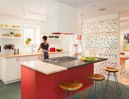 colorful kitchen with a few bright elements