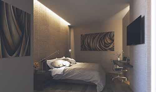 bedroom-lighting-on-textured-walls