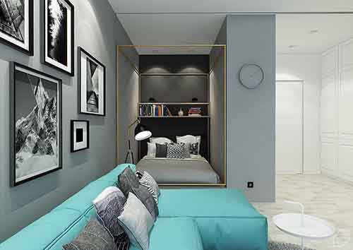 compact-blue-and-brass-apartment