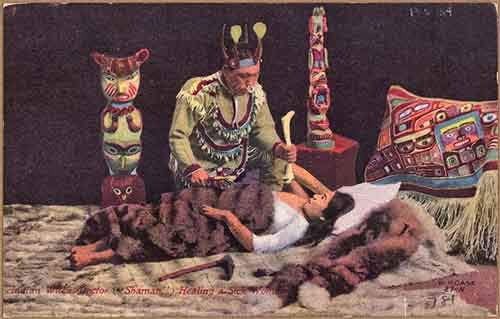 Color_post_card._Indian_witch_doctor__shaman__healing_a_sick_woman._-_NARA_-_297728-610x389