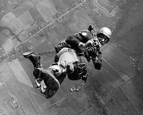 03 - A paratrooper holding a camera while in the air