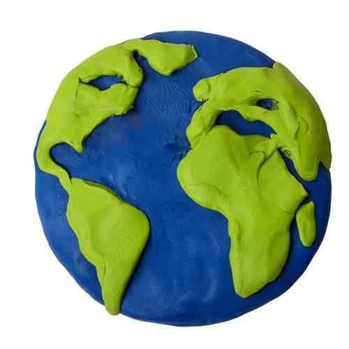 Plasticine planet earth on a white background